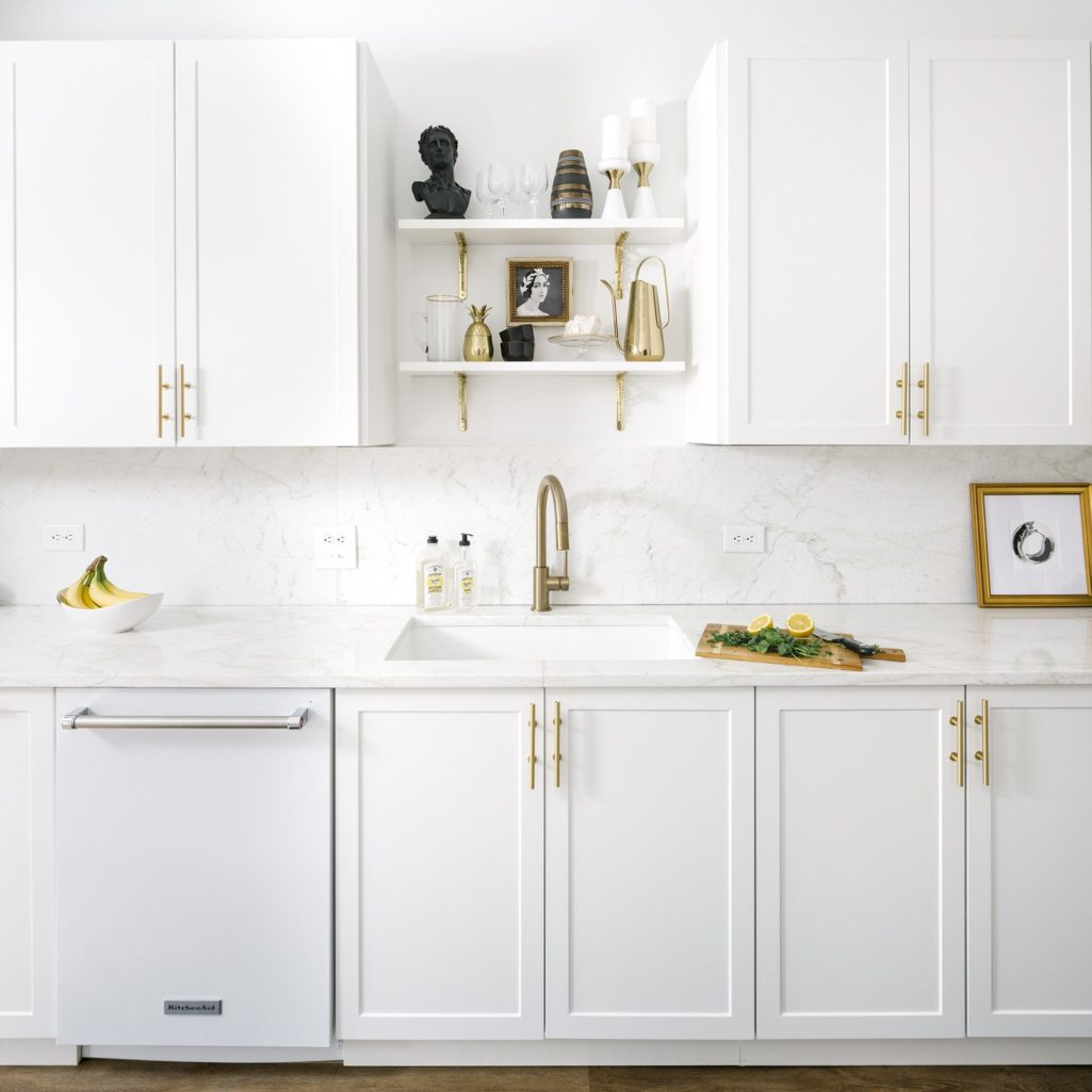 All White Ikea Kitchen With Gold Hardware