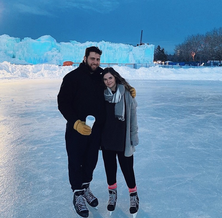 Couple doing skating activity together