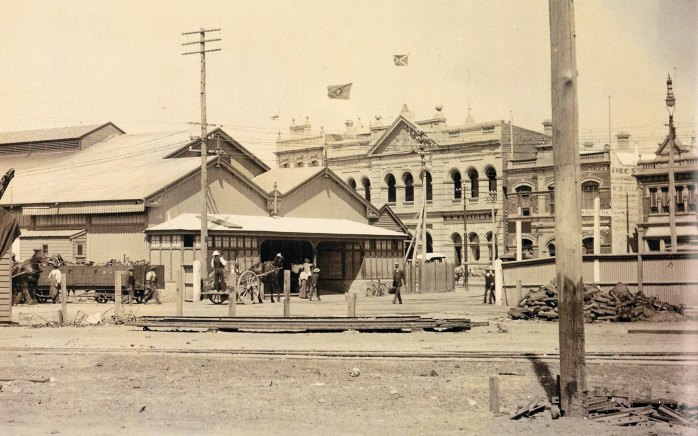 Fremantle's first railway station, Cliff St, cnr Phillimore St, built 1881, replaced in 1907 by current station near Market St, P&O Shipping offices behind, c1896