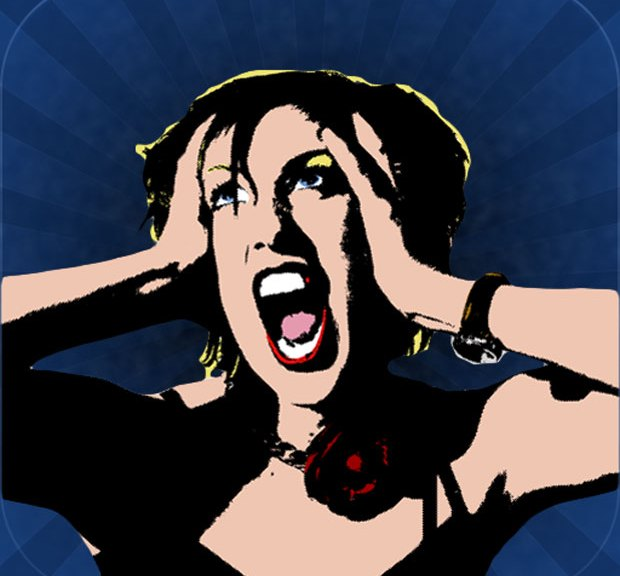 Image of screaming woman.