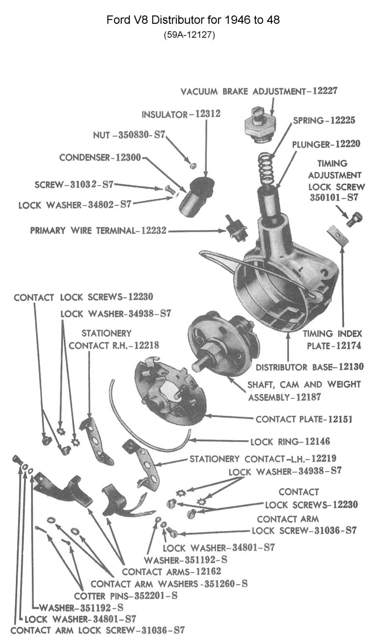 medium resolution of these early v8 distributors used 1942 to 48 were mounted to the front of the flathead engines they were generally set for timing in a special fixture