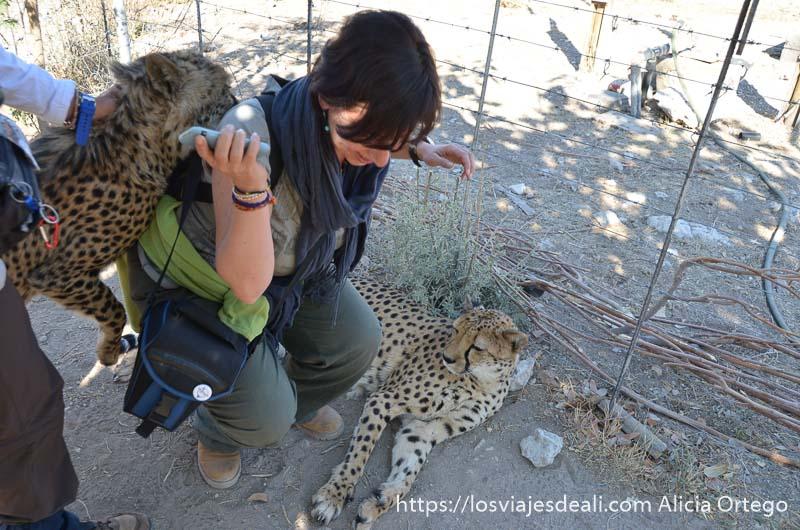 levantándome con cuidado con un guepardo enganchado a la mochila que tengo en la espalda y otro tumbado a mi lado