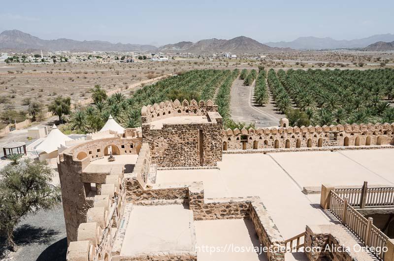torre y murallas con almenas rodeadas de palmeras visto desde arriba en castillo de jabrin