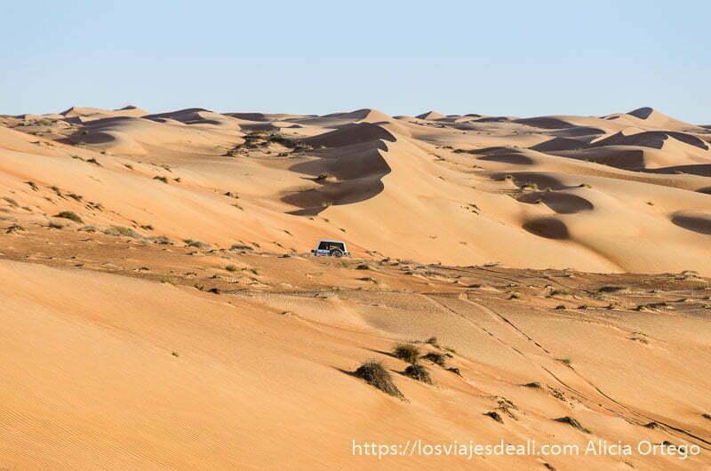 mar de dunas y coche 4x4 entre ellas