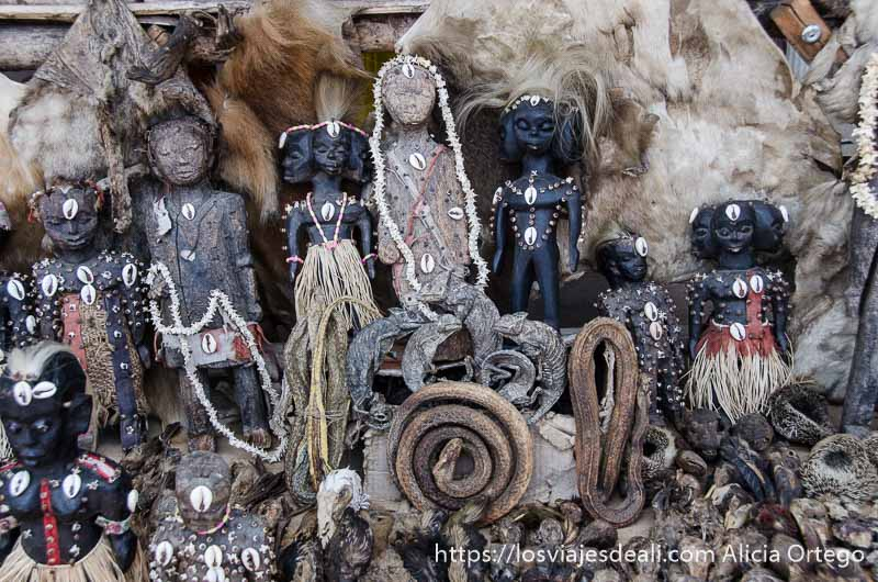 muñecos vudú d madera y camaleones y serpientes disecados en la capital de togo