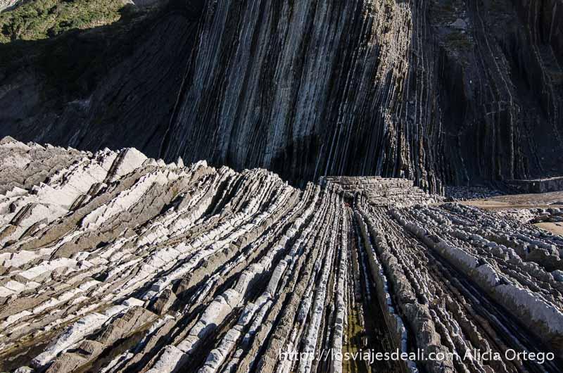 pliegues de roca en el flysch de zumaia