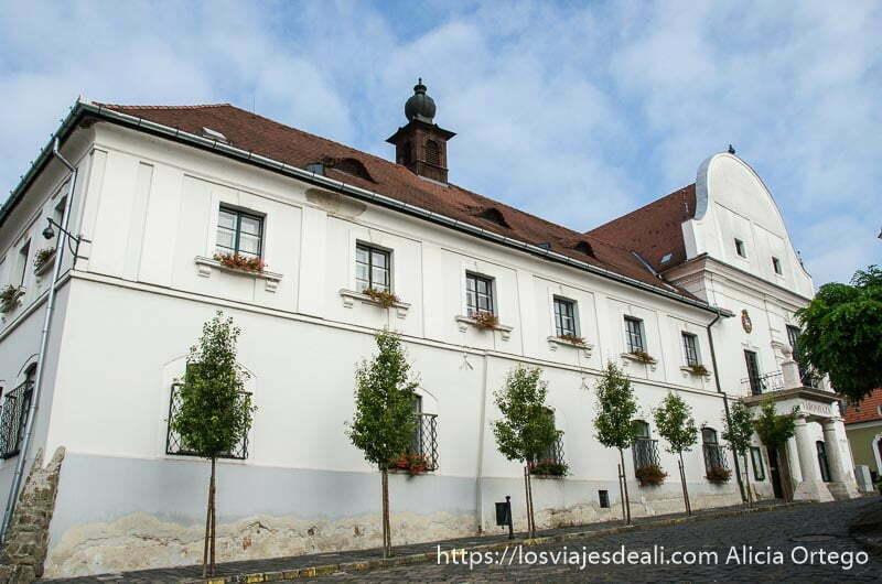 edificio del ayuntamiento de szentendre pintado de blanco con tejado rojo