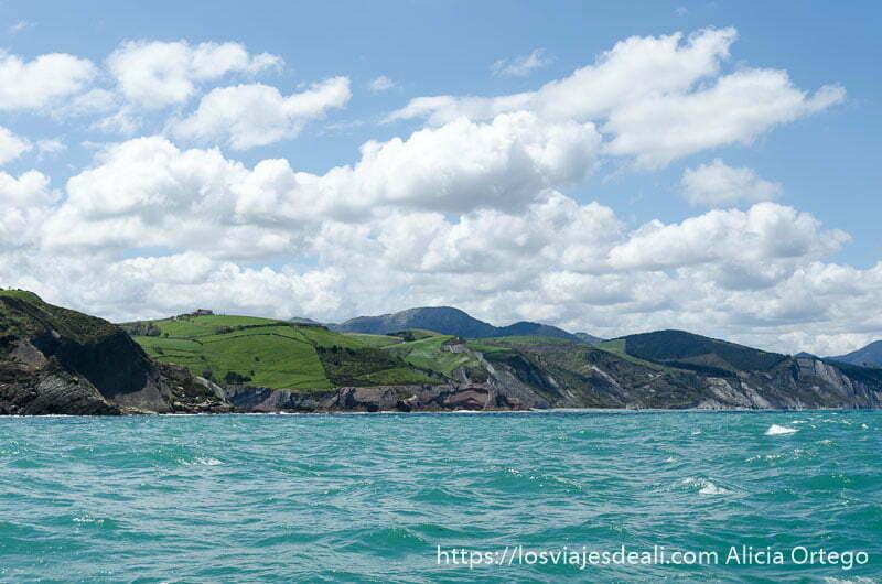 vista del mar con color turquesa y la línea de costa con acantilados flysch cerca de zumaia