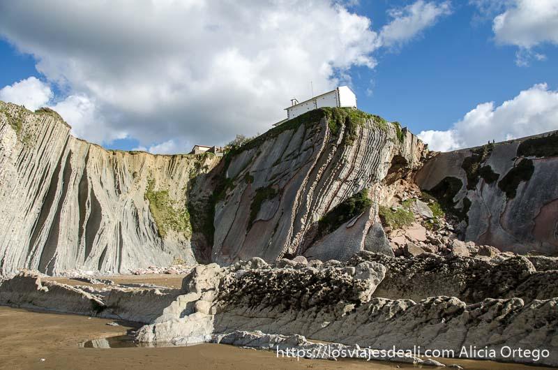 vista de los acantilados de flysch con sus curvas y la ermita arriba del todo en zumaia