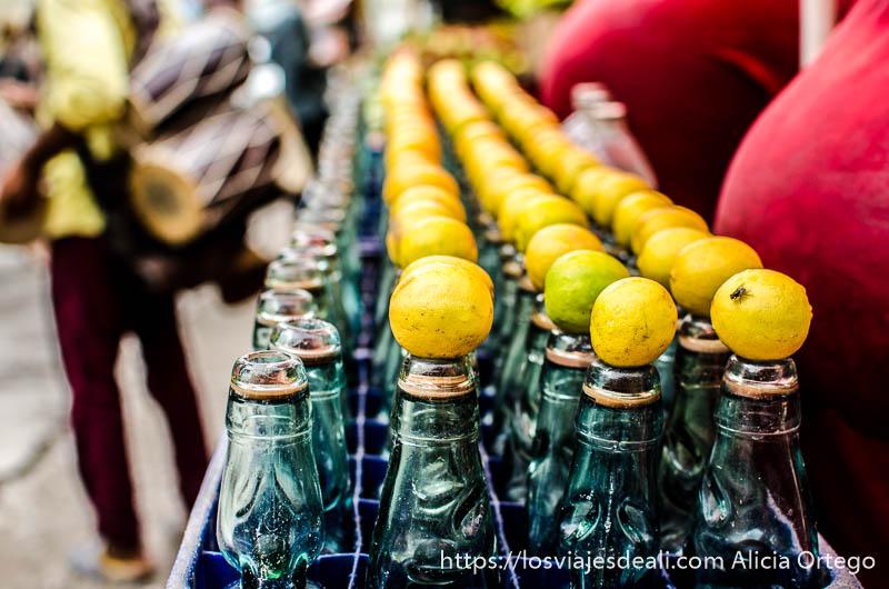hilera de botellas de soda cada una con un limón natural encima en rishiskesh