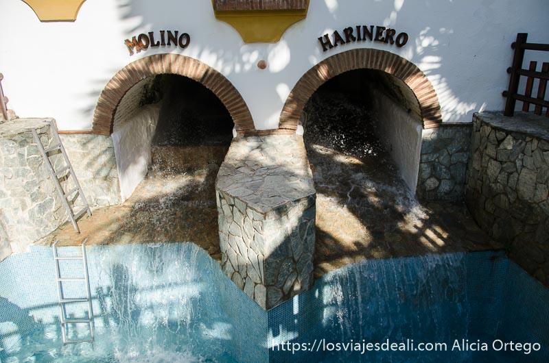 agua saliendo por dos arcos donde pone molino harinero un fin de semana diferente en torremolinos