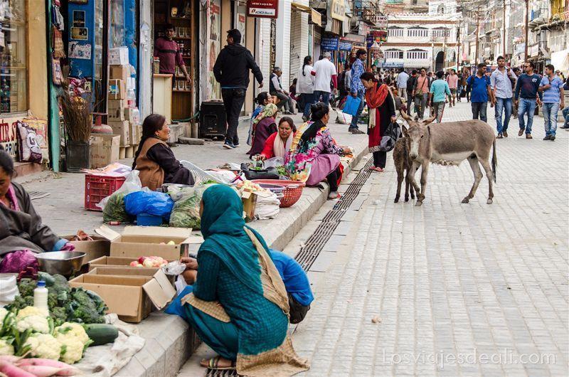 puestos de mercancías en Main Bazaar de Leh