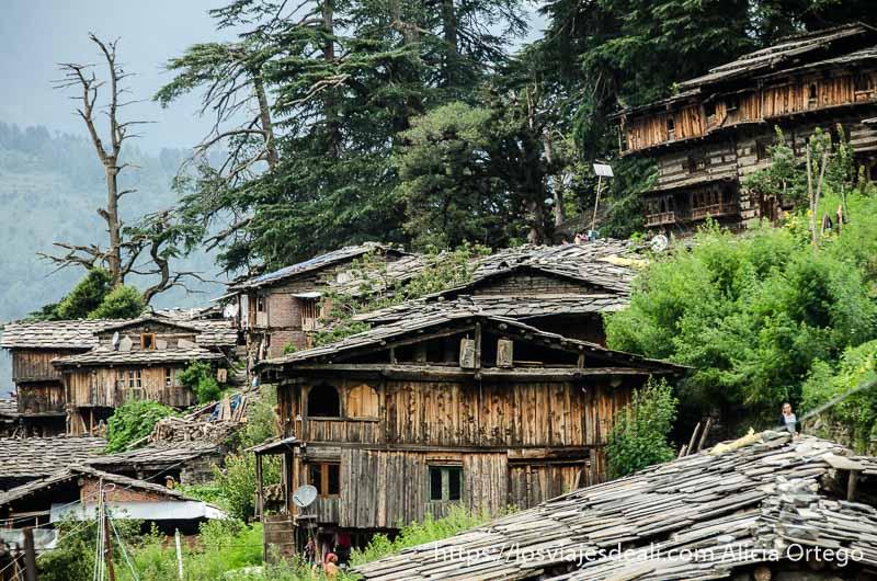 vista del pueblo con casas de madera en la ladera de la montaña verde que ver en manali