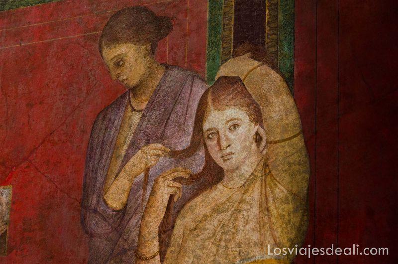 frescos de Villa Misterii en la visita a Pompeya