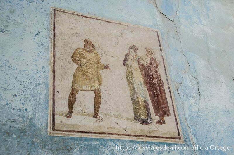 pintura con actores de teatro en visita a pompeya