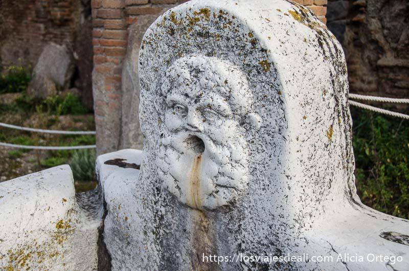 fuente de piedra con cara de hombre con barba y por la boca salía el agua visita a herculano