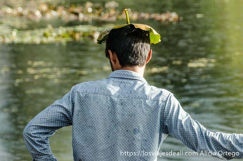 chico con una hoja grande como sombrero en srinagar