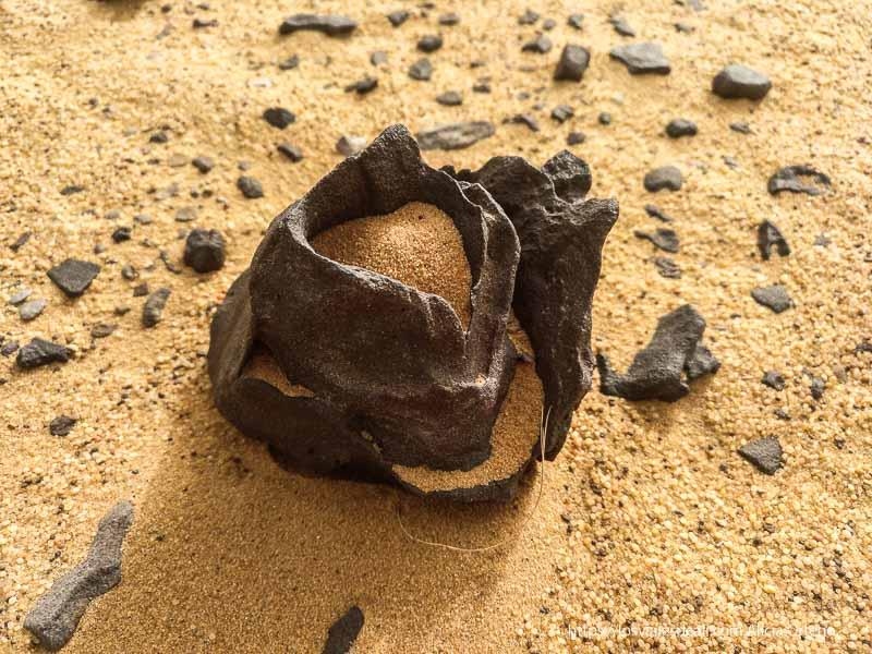 roca volcánica esculpida por el viento en el desierto