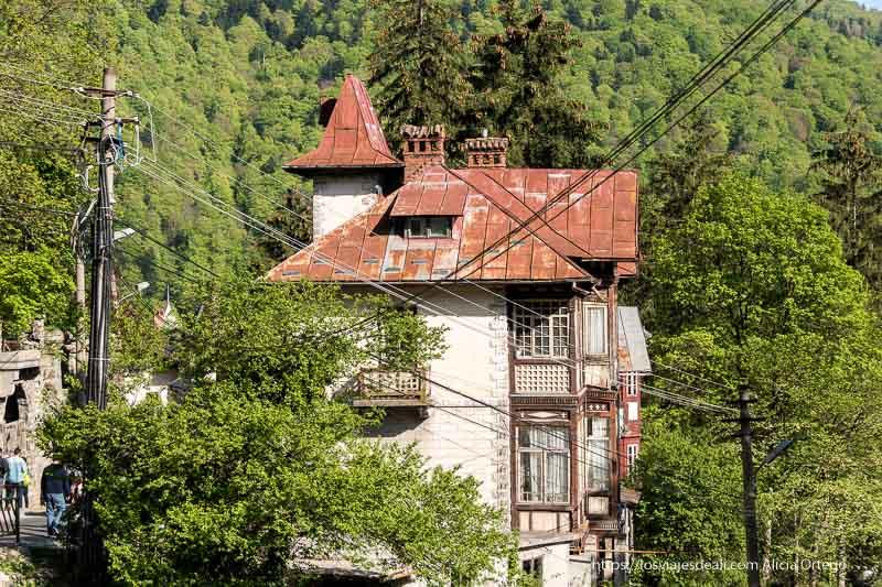 casa de sinaia con tejado rojo y el bosque detrás