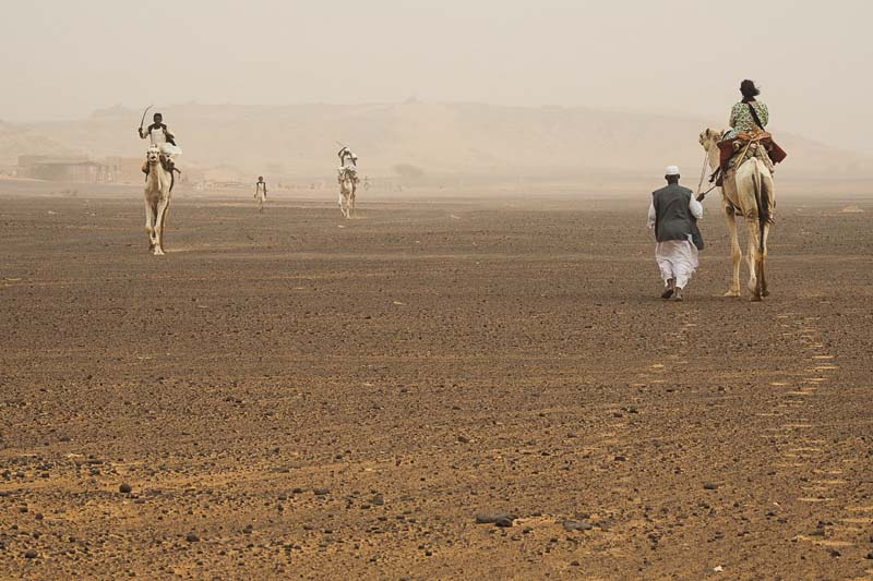 avanzando en camello hacia la entrada de las pirámides de Meroe