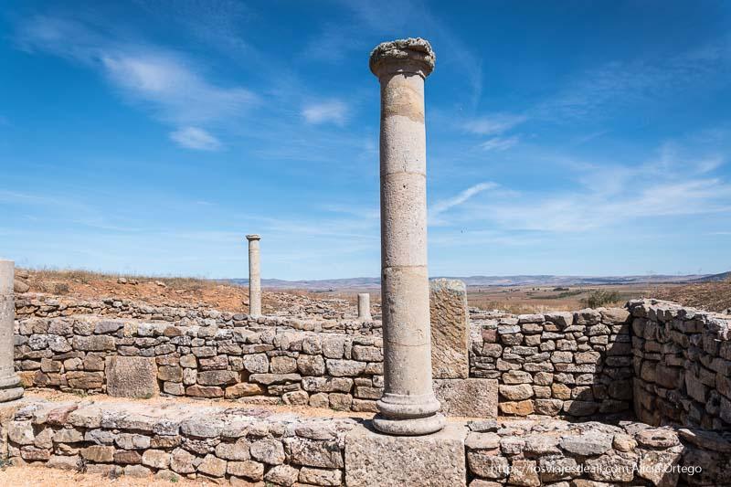 casa de las columnas de numancia con varias columnas y muros