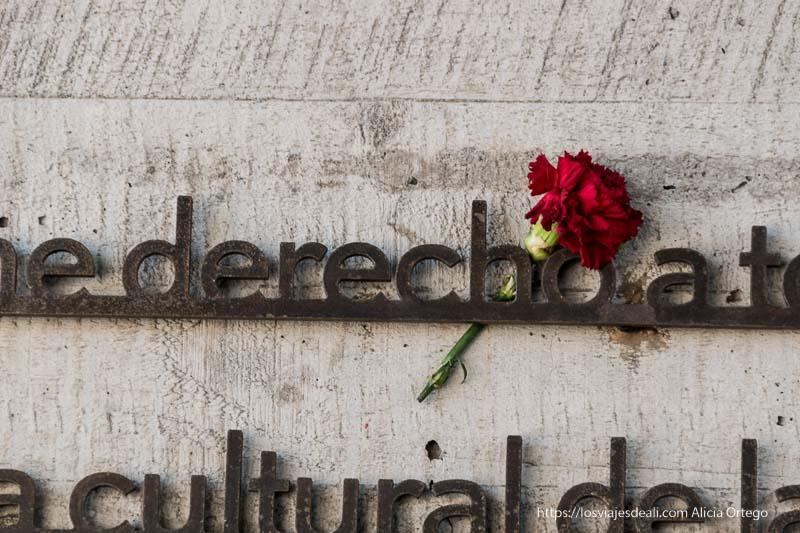 clavel sujeto a las letras de metal de los derechos humanos en el museo de la memoria de santiago de chile