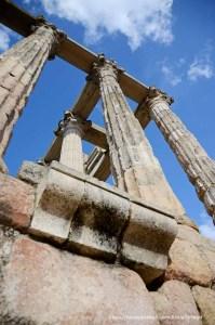 columnas del templo de diana desde abajo en mérida