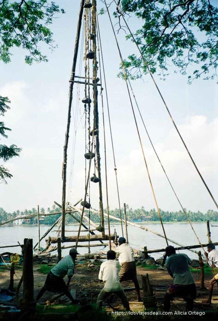 hombres levantando un red en kerala