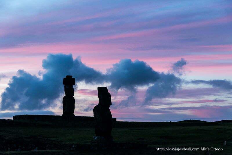 siluetas de moais recortándose en cielo de nubes rosas y azules al atardecer cómo es viajar a Isla de Pascua