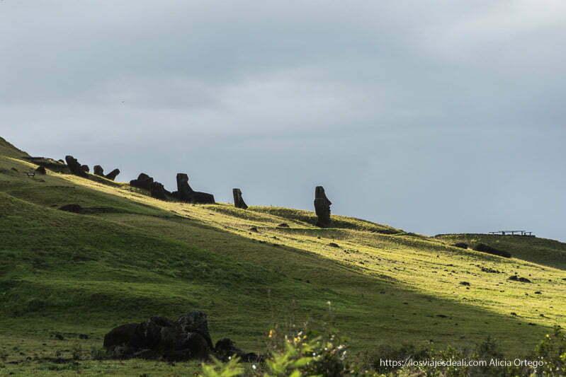 moais en ladera verde de un volcán cómo es viajar a Isla de Pascua