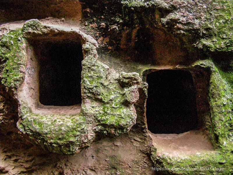 pequeños habitáculos en la roca de forma cuadrada donde vivían los eremitas en las iglesias de lalibela