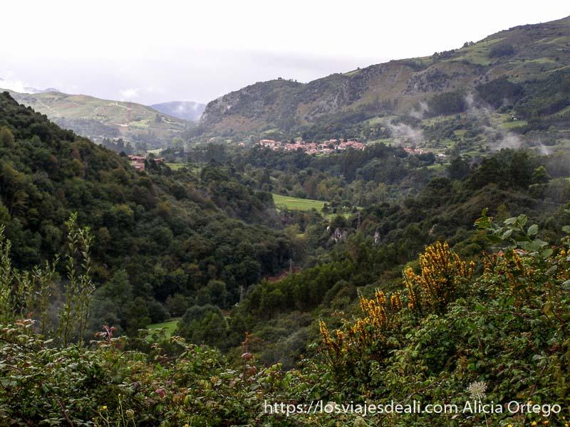 vistas del valle verde con bosques y pueblos junto al parque natural saja besaya