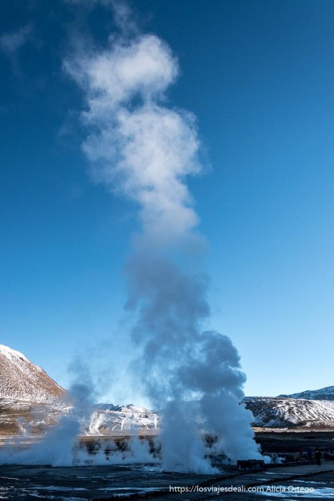 gran columna de vapor en el campo de geysers del tatio con cielo muy azul
