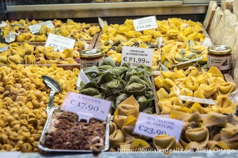 escaparate lleno de tortellinis caseros de distintos tipos y carteles con los precios en bolonia