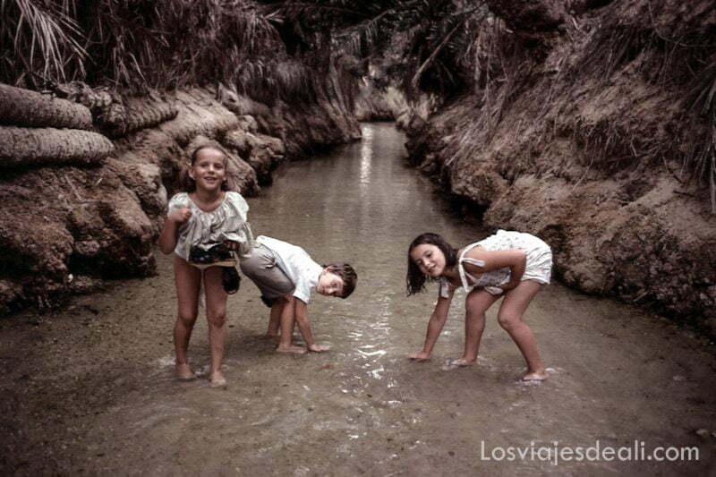 mis hermanos y yo refrescándonos en el canal de agua de un oasis de túnez