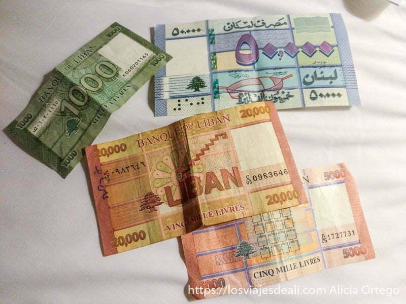 billetes de mil a 20 mil libras libanesas viajar a líbano