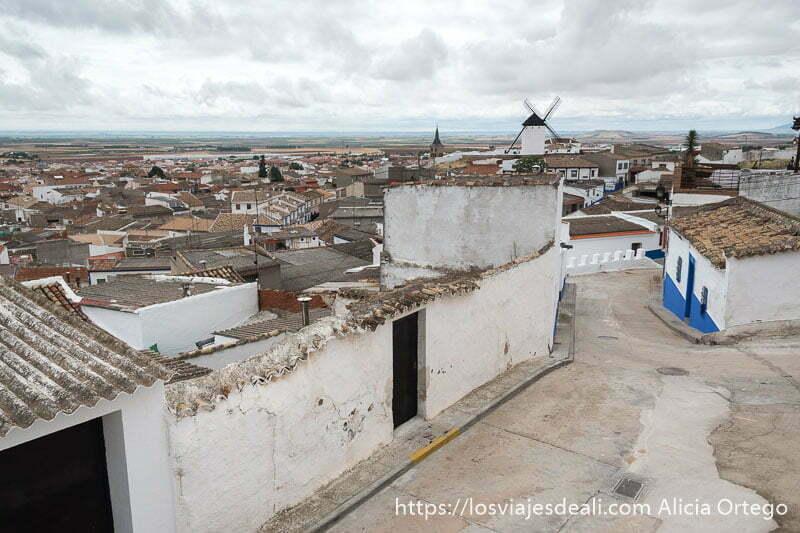 vistas de campo de criptana con tejados de teja y paredes blancas y un molino de viento en la experiencia en la vendimia