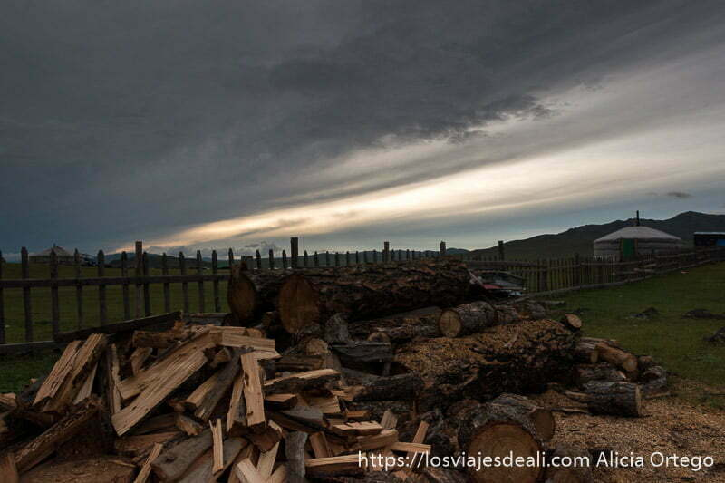 atardecer en el valle de orkhon con grandes nubes de tormenta y un montón de leña en primer plano