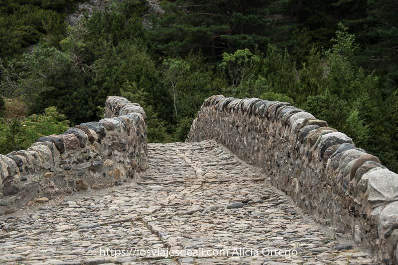 puente medieval de suelo empedrado con guijarros del río y muretes para no caerte