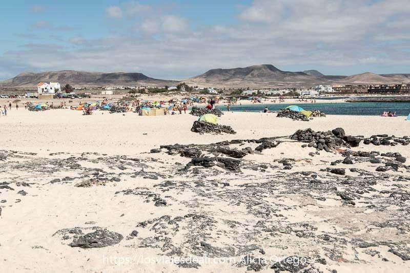 playa de arena blanca con horizonte de volcanes en El Cotillo