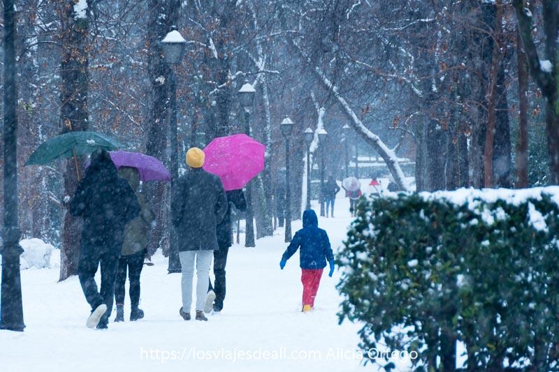 gente andando con paraguas de colores por un paseo del retiro mientras nieva mucho