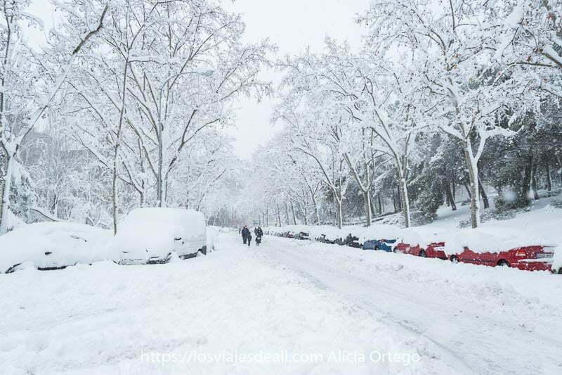 calle llena de coches semienterrados en la nieve en madrid