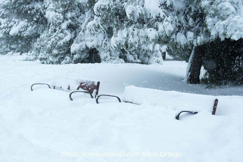 bancos del parque semienterrados en la nieve en madrid