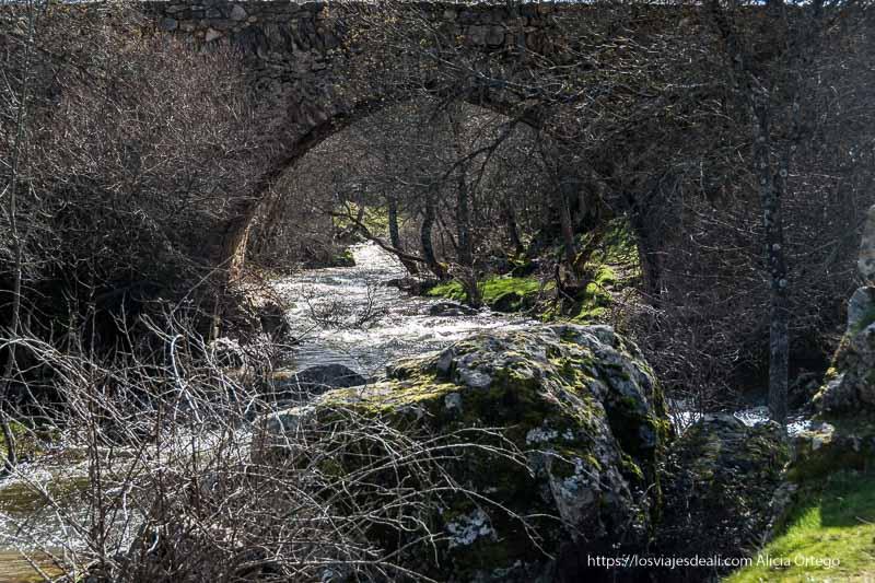 arco apuntado del puente matafrailes con el río bajando entre piedras y árboles