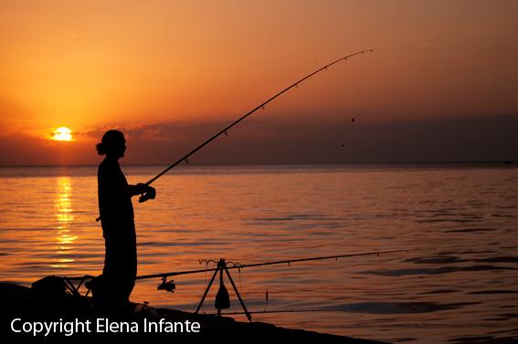 Pescador en Rovinj en la provincia de Istria