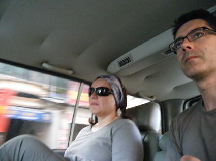 En el coche de ayer a las cascadas de Ban Gioc. No ha pasado nada