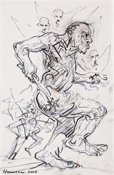 Lot 52 - * PETER HOWSON OBE `Circle Of Violence` charcoal and ink, signed and dated 2005 29.5cm x 19.5cm