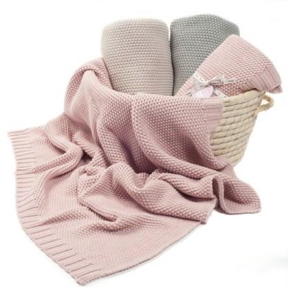 Kocyk dla dzieci Cotton Classic perłowy róż