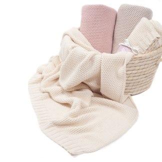 Kocyk dla dzieci Cotton Classic kremowa beza