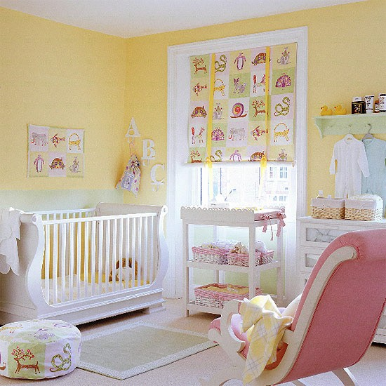 Pink and Yellow Baby Girl Nursery Decorating Ideas